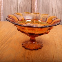 Vintage Large Fostoria Amber Coin Glass Footed ... - $65.44