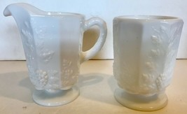Westmoreland Milk-Glass CREAMER & SUGAR SET Vintage Paneled Grape Pattern - $17.94