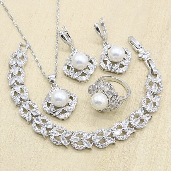 Primary image for New White Pearl 925 Silver Jewelry Sets for Women Wedding Fasion Bracelet Neckla