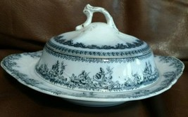 New Wharf FLORENCE China Flow Blue covered butter dish  1890s - $100.98