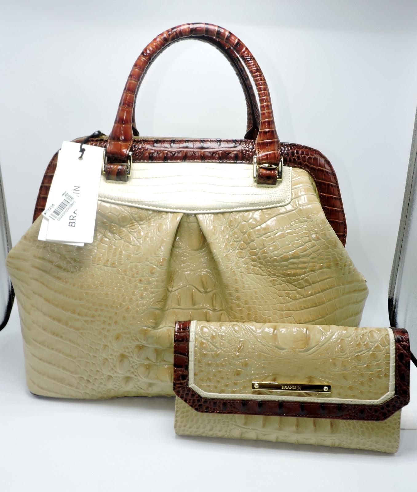 0a69bc1e32 Dscn5052. Dscn5052. Brahmin Bristol Twill TriColor Pecan Tan Cream Leather  Satchel Checkbook Wallet ...