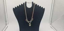 Vintage Silver Tone All Prong Set Rhinestones Necklace W/ Geometric Design - $19.32