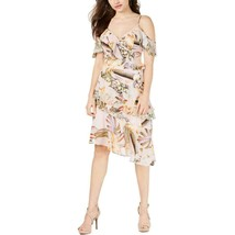 Guess Women's Danie Pink Floral P Cold Shoulder Ruffled Cocktail Dress, ... - $39.19