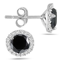 1 1/4Ct Round Cut Black & Sim Diamond Halo Stud Earrings 14K White Gold Plated