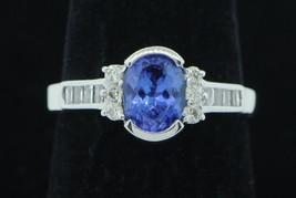 Art Deco Style 18K White Gold Tanzanite and Diamond Ring (Size 7) - $635.00
