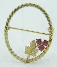 VTG DCE DEC 1/20 14kt Gold Filled Red Rhinestone Flower Leaf Circle Pin ... - $19.80