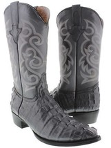 Mens Cowhide Gray Cowboy Crocodile Alligator Tail Leather J Toe Collecti... - €129,11 EUR