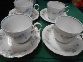 Beautiful Collectible Johann Haviland Bavaria Blue GARLAND-Set 4 Cups & Saucers - $13.57
