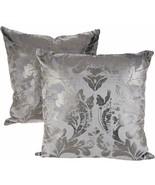 Casa Zeta-Jones Set of 2 Metallic Damask Pillows / Charcoal             ... - $64.02