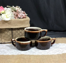 Vintage Pfaltzgraff Gourmet Brown Drip Stackable Flat Cup Closed Handle ... - $18.25