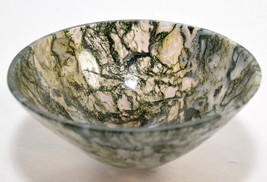 "3.1"" Green Moss Agate Bowl Natural Crystal Chalcedony Mineral Stone Cup ... - $39.95"