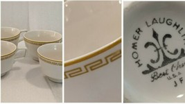 4 Vintage Original Homer Laughlin 1969 JF Coffee Cups Gold Greek Key Meandros  - $29.69