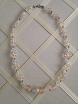 Vintage Pink Crystal With Silver Beading Fashion Strand Necklace - $30.00