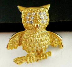 Vintage odd quirky rhinestone gold tone owl Brooch Pin - $9.89