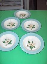 5 Vintage Rimmed Soup Bowls Turquoise  Lifetime China Homer Laughlin Magnolias - $74.25