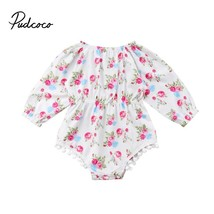 Baby Girl Flower Bodysuit Floral Print Playsuit Cotton Outfits Newborn L... - $8.69