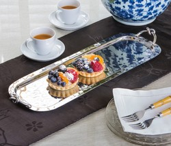 GORGEOUS SET OF 2 NICKEL KNOT SERVING IRON TRAYS,19.25''L. - €96,70 EUR