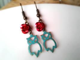 Patina Owl Earrings Red Rose Earrings Owl Charm Earrings Dangle Earrings... - $36.00