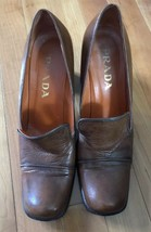 Prada Vero Cuoio Women's Leather Loafers Brown Sculpted Heels  Size 38 US 7.5 - $63.11