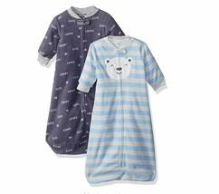NEW Carter's Baby Boys TWO 2-Pack Microfleece Sleepbag Blue Bear Script Medium - $28.04