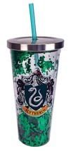 Harry Potter Slytherin Green Glitter 20 oz Acrylic Double Walled Tumbler... - $24.95