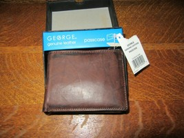 NOS George Genuine Brown Leather Passcase Men's Bi-Fold Billfold Wallet IOB - $12.95