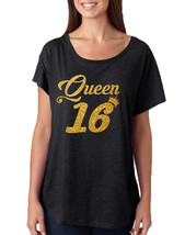 Women's Dolman Queen 16 Glitter Gold Sweet Sixteen Party - $16.94+