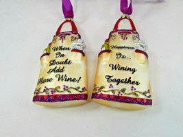 2 Glass Wine Ornaments Happiness in Wining Together When in Doubt Add Mo... - $59.39