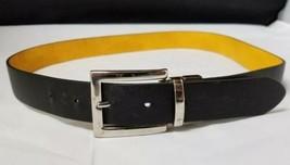 """Womens Black Leather Belt: w Silver Buckle, 41"""" Long, 1.25"""" Wide,  - $9.74"""