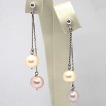Ohrringe Anhänger Weißgold 18K, Doppel Kette Venetian, Perle Weiß und Violet image 1