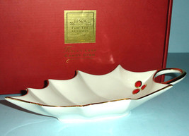 "Lenox Holly Leaf Candy Dish Ivory Red Berry & Gold Trim 9"" New - $15.90"