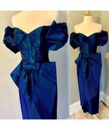 Vintage 80s Avant Garde ALYCE DESIGNS Taffeta Huge Bow Prom Party Dress ... - $219.73