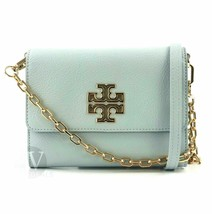 Tory Burch Womens Britten Chain Wallet Crossbody Bag, Blue Seltzer, Smal... - $173.25