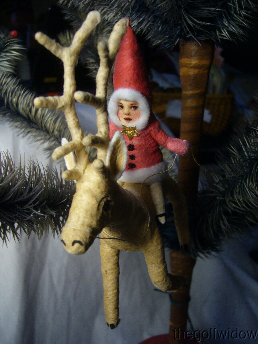 Vintage Inspired Spun Cotton Christmas Ornament Reindeer Rider no. CH8 Red