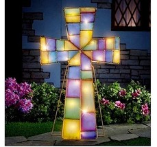 Easter Lighted Stained Glass Cross Outdoor Decoration Spring Yard Display - £35.52 GBP