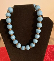 Vintage Shimon Kahloun Blue Beaded Statement Necklace - $32.62