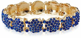 "New Cohesive Jewels Fancy Gold Tone Blue Crystal CZ 6.5"" Stretch Bracelet NWT"