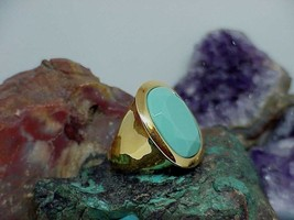 "KJL Kenneth Jay Lane Yellow Gold Plated Turquoise ""World Capital"" Ring S... - $39.59"