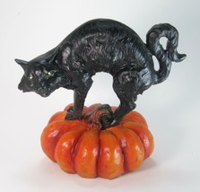 "Black Cat Figurine Standing on Orange Halloween Pumpkin 7"" Tall - $21.73"