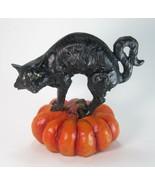 "Black Cat Figurine Standing on Orange Halloween Pumpkin 7"" Tall - $21.73"