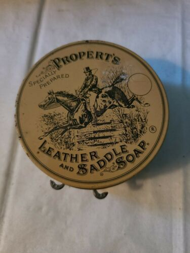 Vintage Propert's Leather & Saddle Soap Tin England has Cloth and Soap