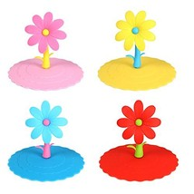 Honbay 4PCS Leakproof Cup Cover Anti-dust Silicone Cup Lids-Cute Flower - £7.82 GBP