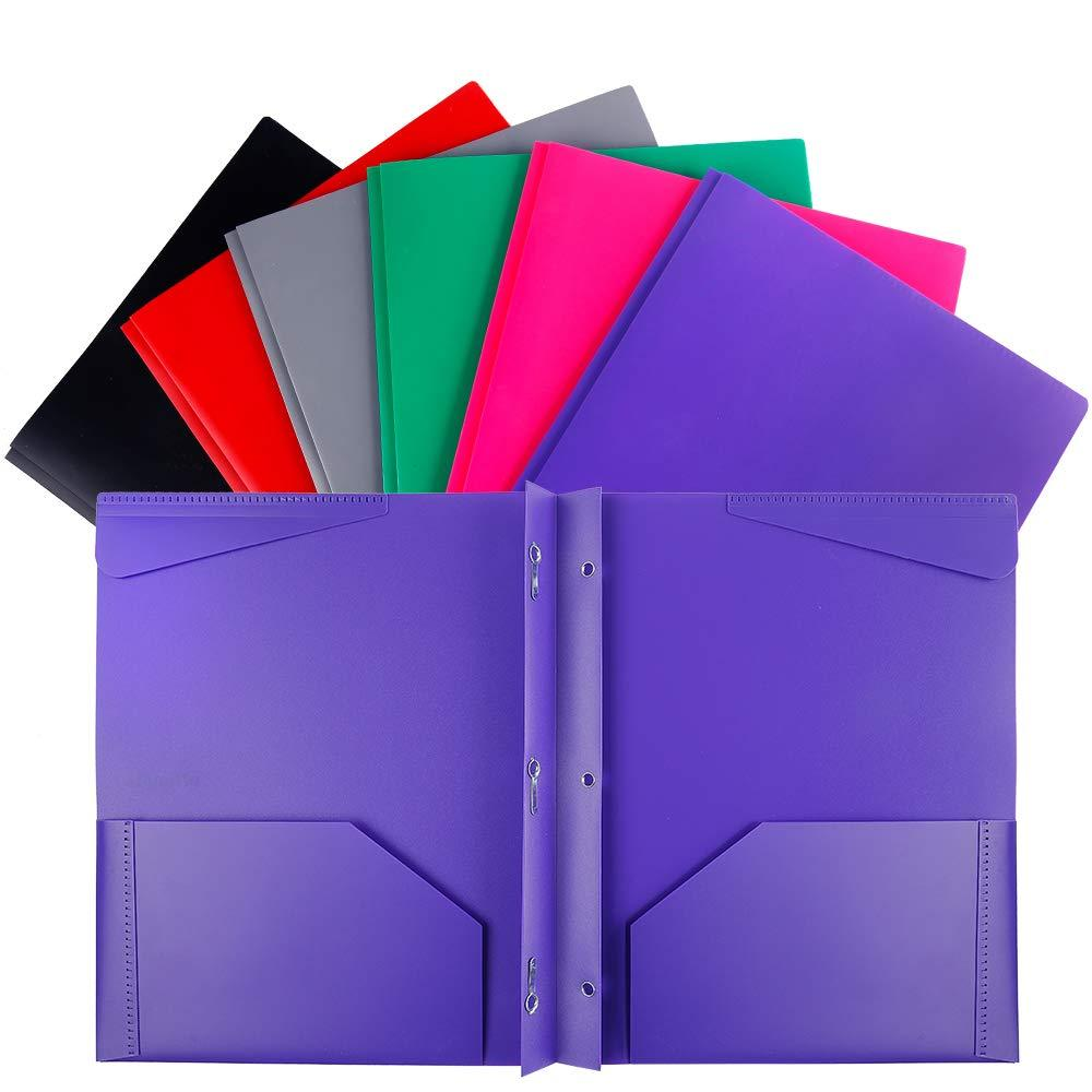 Folders, Plastic Folders With Pockets And Prongs, Heavy