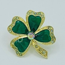 4 Four Leaf Clover Shamrock Pin Green Gold Rhinestone Avon Nancy Rise Si... - $16.44
