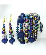 Purple Agate Wrap 6 Stack Bracelet Earring Set Swarovski Crystals Boho  - $49.49
