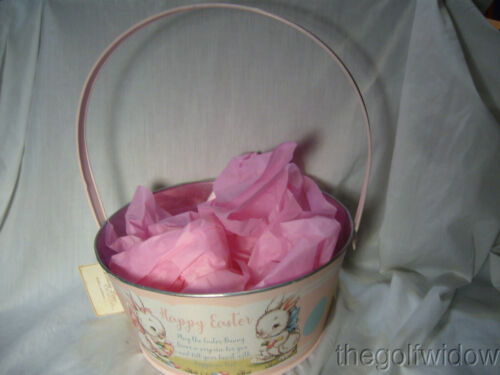 Bethany Lowe Designs Tin Pink Easter Bucket for Easter