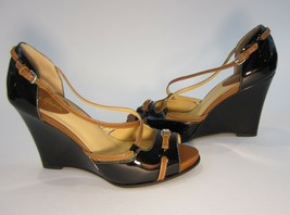 8.5 B 8 1/2 Cole Haan Peep Toe Strappy Wedge Shoes Nwob Patent - $89.09