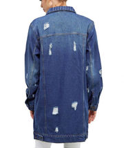 Women's Oversized Casual Cotton Button Up Distressed Long Denim Jean Jacket image 5