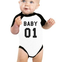 Daddy01 Mommy01 Kid01 Baby01 Pet01 Baby Black And White Baseball Shirt - $15.99