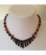 Vintage Mod Deco Glass Black Orange Bead Fashion Necklace  - $70.00